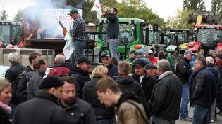 Des agriculteurs bloquent l'A35 au niveau de Strasbourg (Bas-Rhin), le 8 octobre 2019. (MAXPPP)