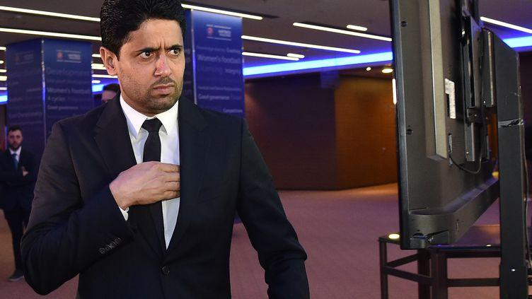 Nasser Al-Khelaïfi, au Congrès de l'UEFA, le 7 février 2019 à Rome. (ANDREAS SOLARO / AFP)