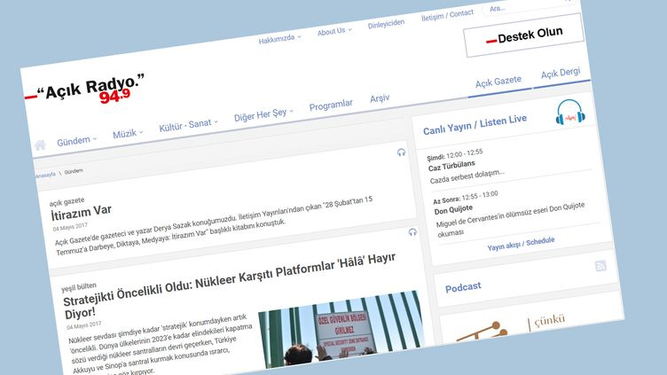 Capture d'écran de la page d'accueil du site de la radio turqueAçik Radyo. (CAPTURE D'ECRAN)