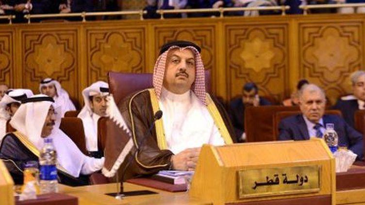La réunion des ministres des Affaires étrangères de la Ligue arabe au Caire le 1-9-2013. Ici, le représentant du Qatar, Khalid bin Mohammad Al Attiyah. (AFP - Anadolu Agency - Muhammed Elshamy )