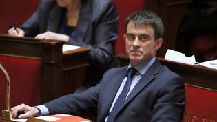 Le Premier ministre, Manuel Valls, à l'Assemblée nationale, le 9 avril 2014. (PATRICK KOVARIK / AFP)