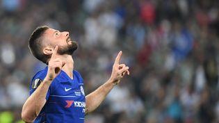 Olivier Giroud, à Baku (Azerbaïdjan), le 29 mai 2019. (OZAN KOSE / AFP)