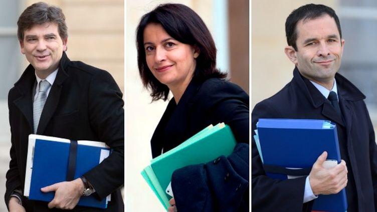 Les ministres Arnaud Montebourg (Redressement productif), Cécile Duflot (Logement) et Benoît Hamon (Economie sociale et solidaire), dans la cour de l'Elysée. (AFP / FRANCETV INFO)