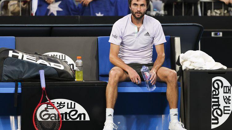 Gilles Simon (ici lors de l'Open d'Australie 2020) n'a pas indiqué de date pour un éventuel retour. (DAVID GRAY / AFP)