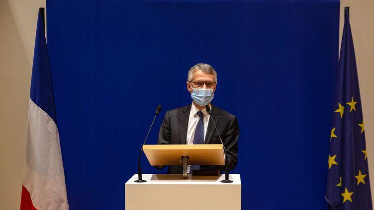 Jean-FrançoisRicard, procureur général du Parquet national antiterroriste, le 17 octobre 2020, lors d'une conférence de presse. (ABDULMONAM EASSA / AFP)