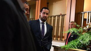 Alexandre Benalla quitte la commission d'enquête le 19 septembre 2018, au Sénat, à Paris. (ALAIN JOCARD / AFP)