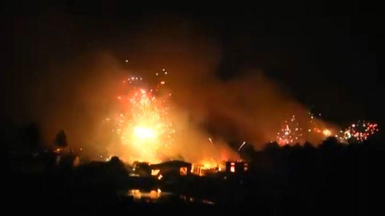 Une usine de feux d'artifice explose en Chine le 20 janvier 2016. (CCTV / AP)