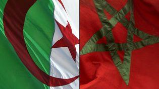 Photomontage des drapeaux algérien (à gauche) et marocain. (RYAD KRAMDI / AFP)
