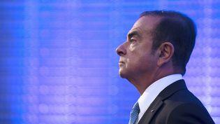 L'ancien patron de Renault, Carlos Ghosn, lors d'une conférence de presse à Paris, le 6 octobre 2017. (ERIC PIERMONT / AFP)