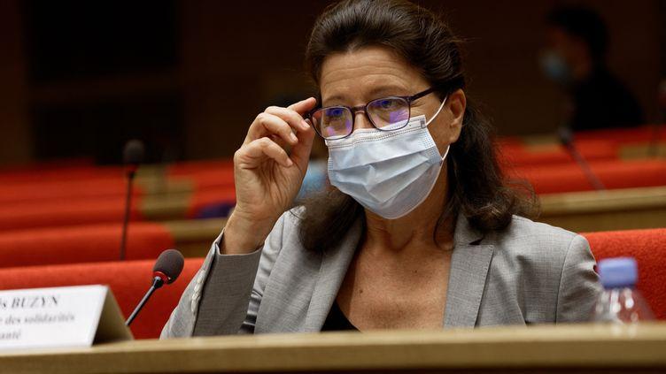 L'ancienne ministre de la Santé Agnès Buzyn lors de son audition par la commission d'enquête sur le coronavirus au Sénat le 23 septembre 2020. (DANIEL PIER / NURPHOTO)