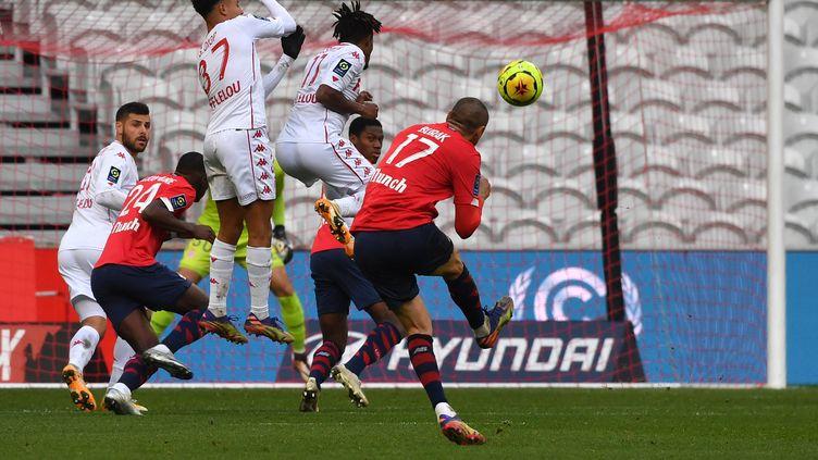 Lille-Monaco lors du match aller de la 13e journée de Ligue 1, le 6 décembre 2020.  (DENIS CHARLET / AFP)