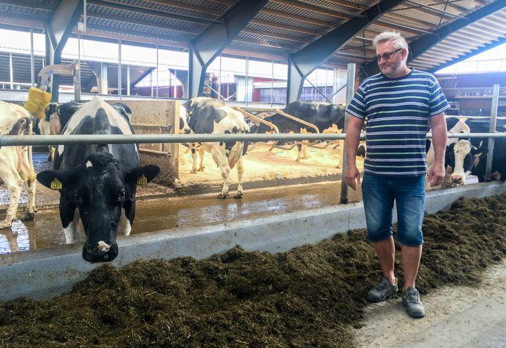 Janna Hansson dans son exploitation laitière à Ljusdal (Suède), le 26 juillet 2018. (ELISE LAMBERT / FRANCEINFO)