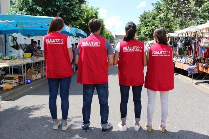 Des militants de Yann Galut à Chateaumeillant (Cher), le 2 juin 2017. (ROBIN PRUDENT / FRANCEINFO)