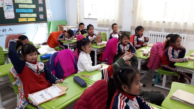 80 enfants suivent l'enseignement du français à l'école expérimentale franco-chinoise de Wenquan au nord-ouest de Pékin. (DOMINIQUE ANDRÉ / RADIO FRANCE)