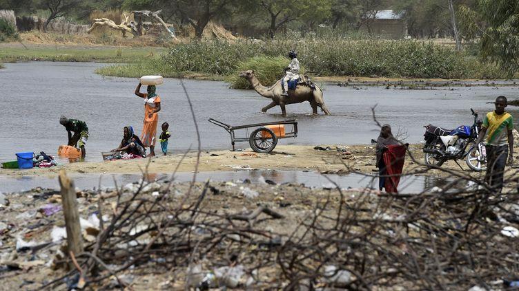 Village de N'Gouboua sur le lac Tchad, attaqué par le groupe islamiste Boko Haram. La plupart des villages de la région sont rackettés par les groupes jihadistes Boko Haram et Iswap. Photo du 6 avril 2015. (PHILIPPE DESMAZES / AFP)