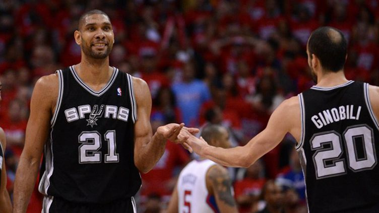 Tim Duncan et Manu Ginobili (HARRY HOW / GETTY IMAGES NORTH AMERICA)
