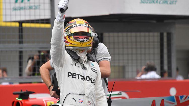 La joie de Lewis Hamilton (TOSHIFUMI KITAMURA / AFP)
