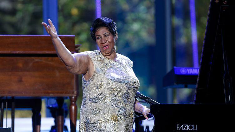 Aretha Franklin chante à la Maison Blanche, à Washington (Etats-Unis) le 29 avril 2016. (AUDE GUERRUCCI / CONSOLIDATED NEWS PHOTOS / AFP)
