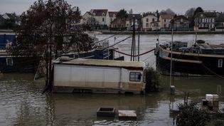 La commune deVilleneuve-Saint-Georges (Val-de-Marne) a été très touchée par les inondations de janvier 2018. (CHRISTOPHE ARCHAMBAULT / AFP)