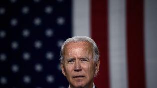 Joe Biden lors d'un meeting de campagne sur les énergies propres, le 14 juillet 2020, à Wilmington (Delaware). (OLIVIER DOULIERY / AFP)