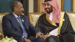 Le prince héritier saoudien, Mohammed ben Salman, en conversation avec le général Abdel Fattah al-Burhan, président du Conseil militaire transitoire au pouvoir au Soudan, lors d'une réunion au sommet de l'Organisation de la conférence islamique (OCI), dans la ville sainte saoudienne de La Mecque le 1er juin 2019. (BANDAR AL-JALOUD / SAUDI ROYAL PALACE)