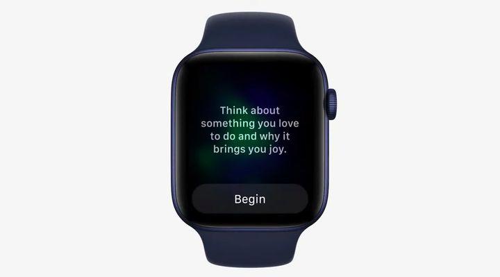 Exemple d'une phrase apaisante proposée sur les Apple Watch. (APPLE)