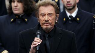 Johnny Hallyday chante lors de l'hommage aux victimes des attentats de janvier et novembre 2015, le 10 janvier 2016 à Paris. (YOAN VALAT / AFP)
