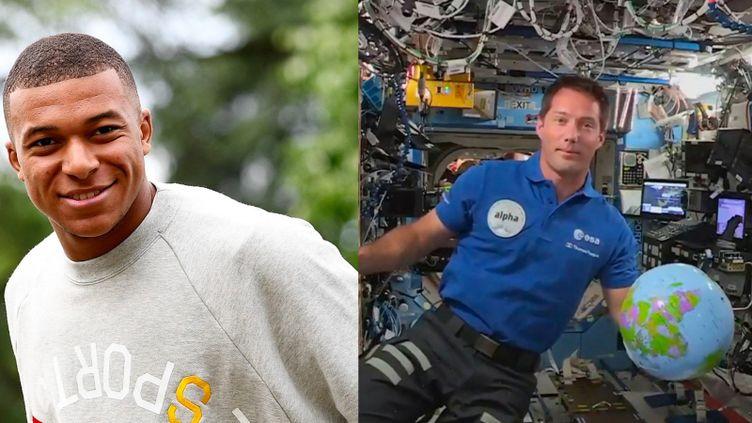 Le footballer Kylian Mbappé au centre d'entraînement de Clairefontaine-en-Yvelines, à gauche, et l'astronaute Thomas Pesquet à bord de l'ISS, à droite. (EUROPEAN SPACE AGENCY / FRANCK FIFE / AFP)