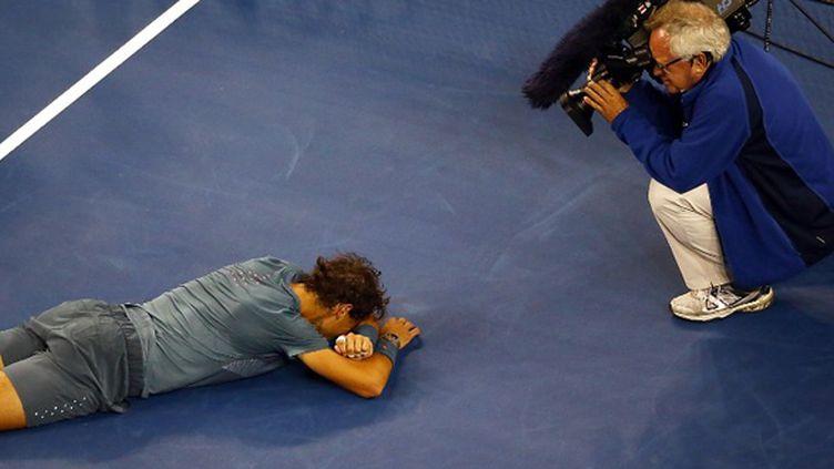 Rafael Nadal en pleurs après sa victoire à l'US Open (JOE SCARNICI / GETTY IMAGES NORTH AMERICA)