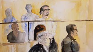 Dessin de Jawad Bendaoud au premier jour de son procès au palais de justice de Paris, le 24 janvier 2018. (ELISABETH DE POURQUERY / FRANCEINFO)
