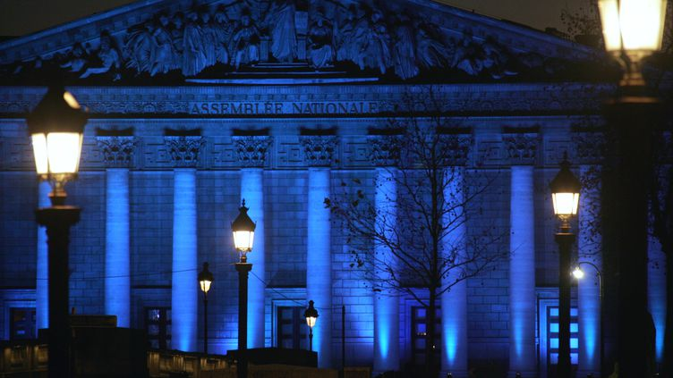 L'assemblée nationale illuminée de bleu le 10 décembre 2006 à Paris, à l'occasion du lancement de la chaîne France 24. (DOMINIQUE FAGET / AFP)