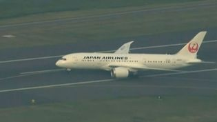 Le Boeing 787 Dreamliner de la Japan Airlines sur le tarmac de l'aéroport de Boston (Etats-Unis), le 18 juillet 2013. (APTN / FRANCETV INFO)