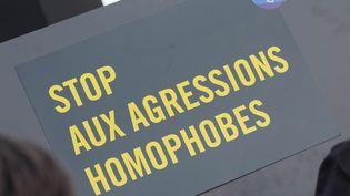 Une pancarte brandie lors d'un rassemblement contre l'homophobie organisé le 21 octobre 2019 à Paris. (ESTELLE RUIZ / NURPHOTO / AFP)