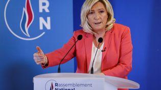 La présidente du Rassemblement national, Marine Le Pen, le 29 janvier 2021 lors d'une conférence de presse à Nanterre (Hauts-de-Seine). (THOMAS SAMSON / AFP)