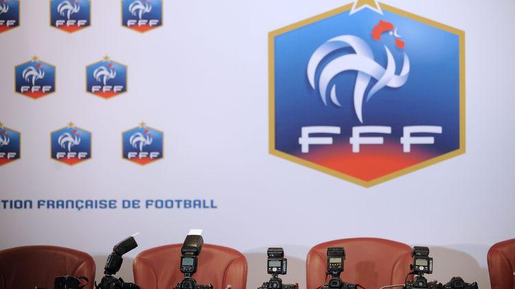 Conference de presse au siege de la Federation Francaise de Football (FFF) en 2010. Photo d'illustration. (YOAN VALAT / MAXPPP TEAMSHOOT)