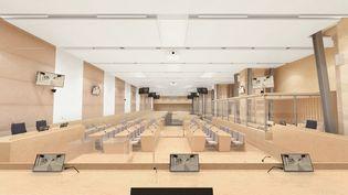 Vue de la salle d'audience où se déroulera le procès des attentats du 13 novembre 2015, depuis la table de justice. (MM ARCHITECTS DESIGNERS AND PLANNERS)