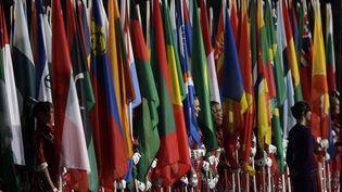 Les drapeaux lors de la cérémonie de clôture des Jeux de Londres, le 12 août 2012. (MATT SLOCUM/AP/SIPA / AP)