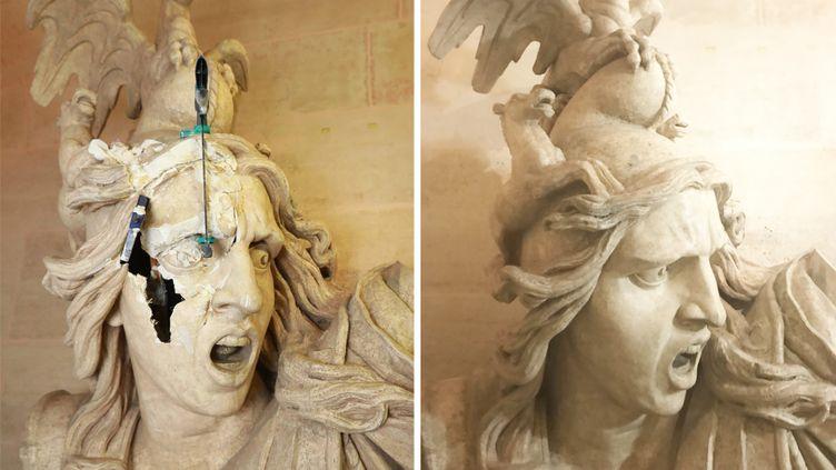 Buste Le Génie de la Patrie dit aussi La Marseillaise, avant et après sa restauration (PHILIPPE LAVIELLE /MAXPPP / GILBERT CHEVALIER / RADIO FRANCE)