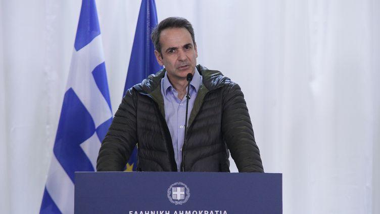 Le Premier ministre grec,Kyriakos Mitsotakis, donne une conférence de presse, le 3 mars 2020 à Kastanies (Grèce). (ACHILLEAS CHIRAS / NURPHOTO / AFP)