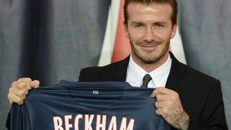 Le footballeur anglais David Beckhamà Paris le 31 janvier 2013,lors de sa présentation officielle au PSG. (FRANCK FIFE / AFP)