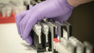 Lors de tests d'échantillons pour dépister des virus respiratoires, et qui seront utilisés pour tester le coronavirus Covid-19,dans unlaboratoire de Leeds en Angleterre, le 12 mars 2020 (photo d'illustration). (DANNY LAWSON / POOL)