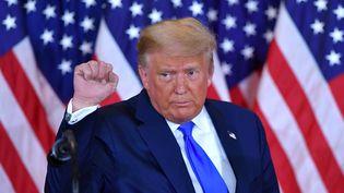 Le président des Etats-Unis Donald Trump, lors de la soirée électorale,dans la nuit du 3 au 4 novembre 2020. (MANDEL NGAN / AFP)