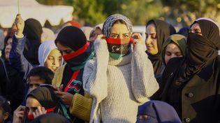Des manifestants contre le maréchal Haftar, à Tripoli, le 10 janvier 2020. (MAHMUD TURKIA / AFP)