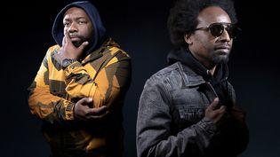 Jo Popo et Boss One, les rappeurs du groupe 3e œil à Paris le 25 mars 2021 (JOEL SAGET / AFP)