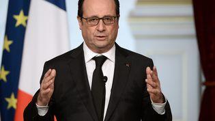 François Hollande donne une conférence de presse à l'Elysée, le 4 avril 2016. (STEPHANE DE SAKUTIN / AFP)
