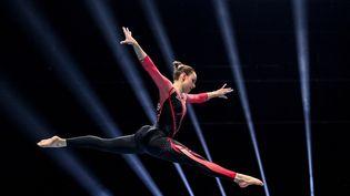 Sarah Voss, gymnaste allemande lors de la qualification des Championnats d'Europe de gymnastique artistique à Bâle (Suisse), le 21 avril 2021. (FABRICE COFFRINI / AFP)