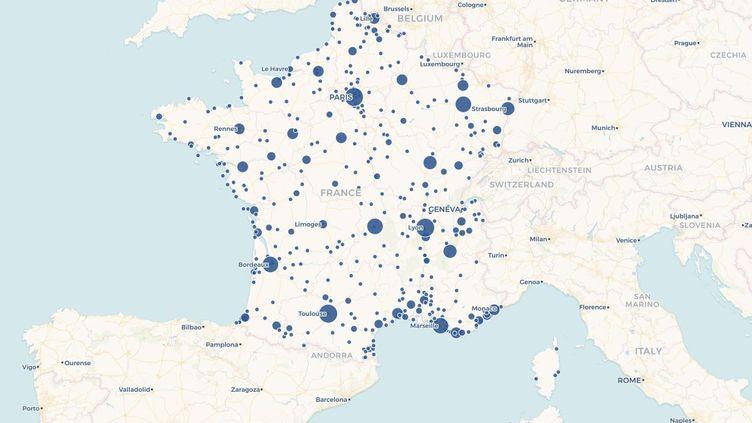 Carte des villes françaises dans lesquelles Johnny Hallyday a donné des concerts depuis 1960. (FRANCEINFO)