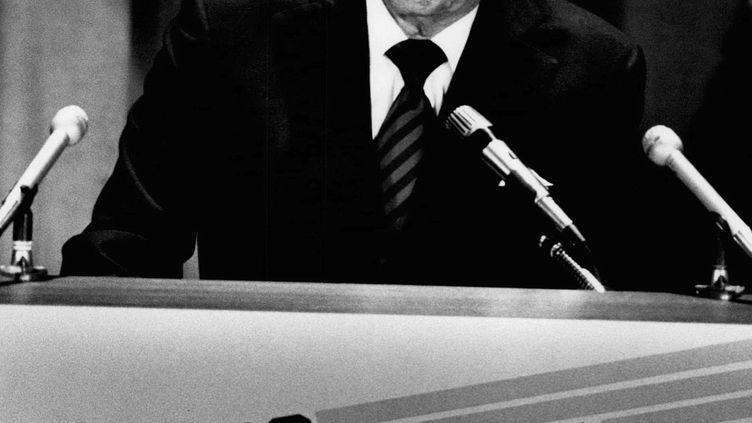 Ronald Reagan lors de sonentrée dans la course à la présidentielle, le 13 novembre 1979, à New York. (BRIAN F. ALPERT / MAXPPP)