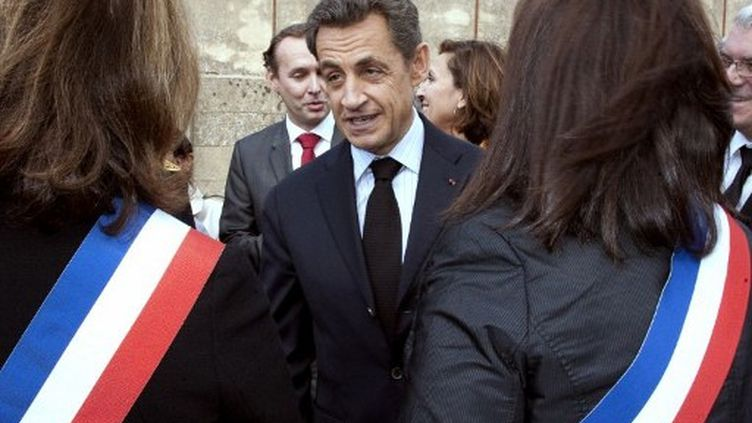 Nicolas Sarkozy lors d'un déplacement à Carcassonne, sur le thème de la modernisation du secteur public de la santé, le 25 octobre 2011. (AFP - Pascal Pavani)