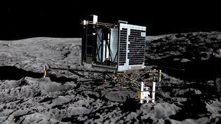 Une image de synthèse, diffusée par l'Agence spatiale européenne le 20 décembre 2013, montre le robot Philae posé sur la comète Tchouri. (MEDIALAB / ESA / AFP)